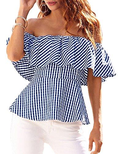 d7896d7f91d28 BMJL Women s Striped Shirt Ruffle Off the Shoulder Tops Blouse – Dumuby
