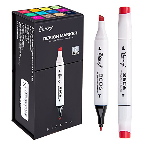 Set 12 Dual Tip Alcohol Based Paint Markers Pens With Broad Chisel And Fine Tip
