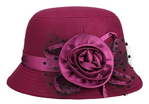 e13b07989317 Vbiger Fedora Hat Floppy Hat Bowler Hat Wool Wide Brim Hat Vintage ...