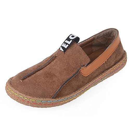 aaf4ca15a94 ALBBG Leather Boat Mary Loafers Travel Driving Platform Wide Brown Girl s Woman s  Shoes Walking