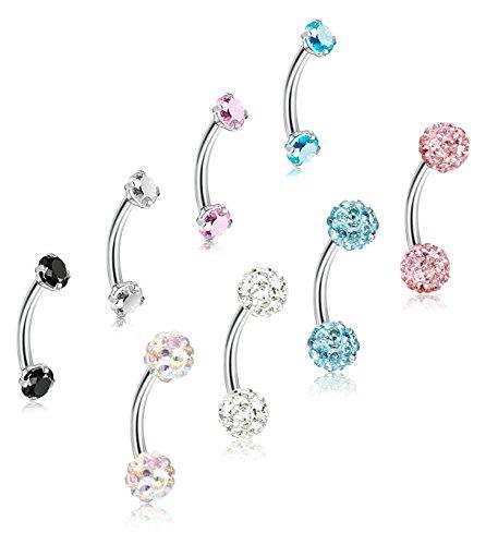 16G Gem Slave Ring Labret Lip Bar Ring Monroe Piercing Jewellery CHOOSE LENGTH