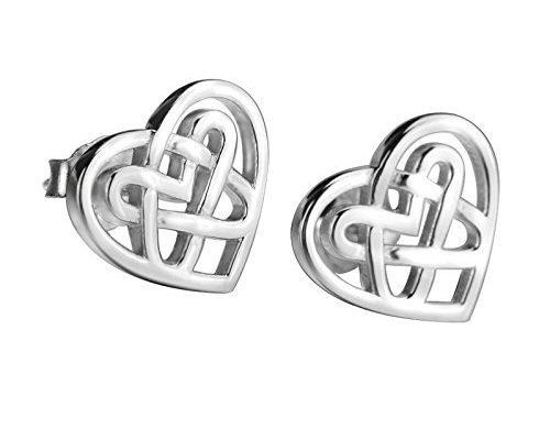 c8295a02d LUHE Sterling Silver Celtic Triquetra Knot Stud Earrings Heart Celtic knot  heart earrings 1
